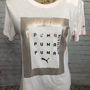 Puma Out of the Box Foil Rose Gold Tee NWT